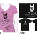 garment printing pink before after