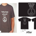 screen printing peace before after shirt